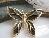 Vintage Signed PIM Gold Dark Olive Green Faux Leather Wings Butterfly Brooch Pin
