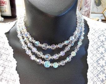 Vintage Layered Multi-Strand Crystal Bead Rhinestone Clasp Choker Necklace DD43