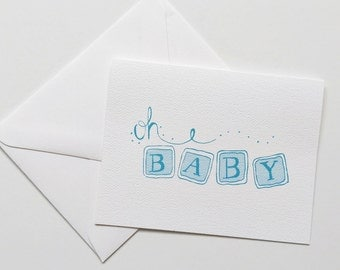 Oh Baby Card-Baby Congratulations-Baby Shower Card