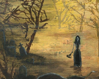 ORIGINAL ART: GRAVE Small skull painting, 6x6 inches acrylic on canvas  // golden, black, graveyard, mist, forest, lady in black, stones