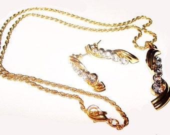 Journey Pendant Earring Set Clear Ice Rhinestones Gold Metal Chain Vintage
