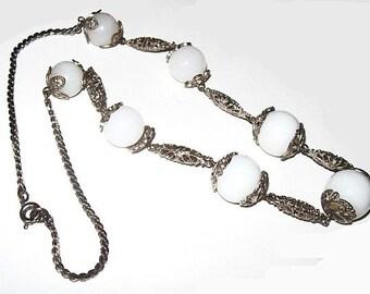 "Czech Bead BIB Necklace White Opaque Round Stones Fancy Silver Metal Caps & Chain 16"" Vintage"