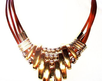 """Tribal Bib Leather Necklace Gold Bars & Silver Beads South Western 16.5"""" Vintage 1960s Hippie Boho"""