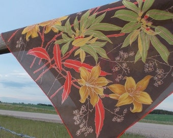 vintage yellow lily silk scarf hand printed hand rolled edges - 70s