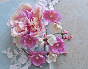 Bridal Flower Hair Clip, Bridal Hair Flower, Bridal Hair Accessory, Vintage Pink and Ivory Wedding Headpiece, Rustic Floral Headpiece Pearls