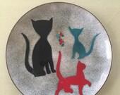 Mid Century Modern Bovano Enamel on Copper Mod Cat Plate