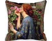 """READY MADE Soul of the Rose 18"""" Throw Pillow Cover 18x18  Art Nouveau Waterhouse 18 inch Art Pillow Cover Bohemian  Ginger Woman blue pink"""