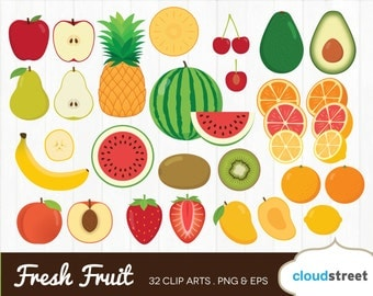20% OFF fresh fruit clipart / sliced fruits clip art / fruit slice watermelon apple mango vector illustration / commercial use ok