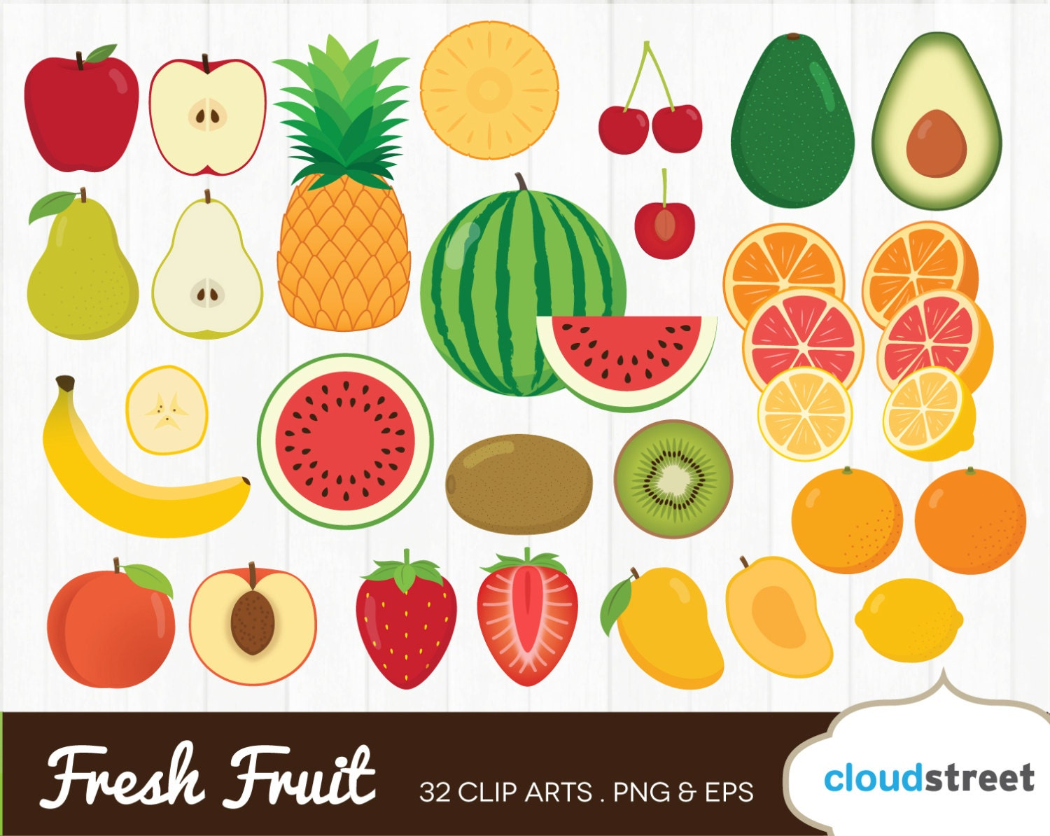 fresh fruit clipart / sliced fruits clip art / fruit slice