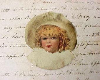 Sweet Little Victorian Scrap-Little Girl in Large Hat