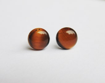 Brown and yellow tigers eye gemstone 8mm round surgical steel stud earrings