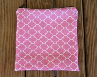 Reusable Sandwich Bag, Pink - ZIPPER Sandwich Bag
