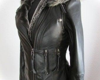 Black leather steampunk jacket leather biker style jacket leather burning man jacket SELKINI