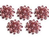 Valentine Rhinestone and pearl Buttons, metal - Pearl Sunburst Button - MEDIUM 26mm -Set of 5 - Pink