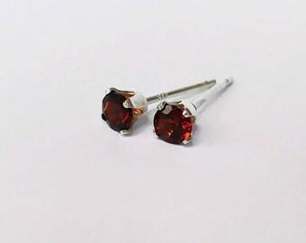 Tiny 3mm Garnet Sterling Silver Claw Stud Earrings