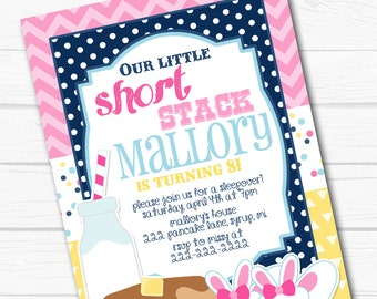 "Diy Personalized ""Pancakes & PJ's"" Birthday Party Digital Printable 4x6"" or 5""x7"" Invitation"
