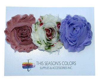 Feminine Shabby Rose Flower Hair Clips or Ponytail Holders, Set of Three:  Dusty Rose, Floral & Lavender Purple