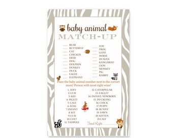 Woodland Baby Animal Shower Game Cards - Instant Download - Party Activities - Printable - Casual Fun