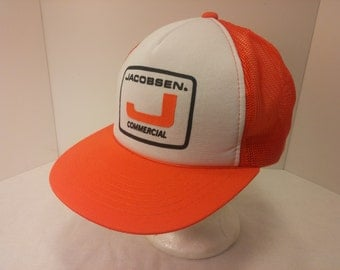 Vintage 1980s Snapback Baseball Cap - JACOBSEN COMMERCIAL -  Hipster, Mowers, Landscaping, Retro, Mens Accessories