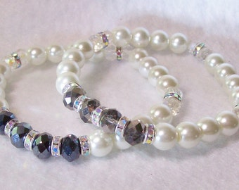 Bracelet/pearl & crystal stretch bracelet/6mm black or silver/8 inch unstretched/Free USA shipping only