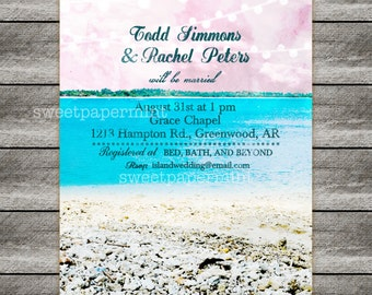 Beach Ocean Wedding Invitation Card Printable Digital - Customizable