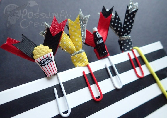 4 large double ribbon paperclips movie by possumpipcreations