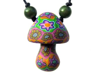 Pretty mushroom pendant with sunflower and spiral millefiori patterns, handmade hippie necklace, psychadelic, polymer clay, with beads