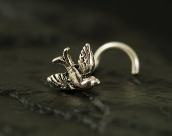 Mini swallow sterling silver nose stud / nose screw / nose ring