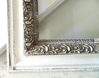 Vintage White Distressed Frame Wood Ornate Large
