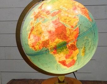 Vintage World Globe Lighted Globe Replogle Vintage World Map