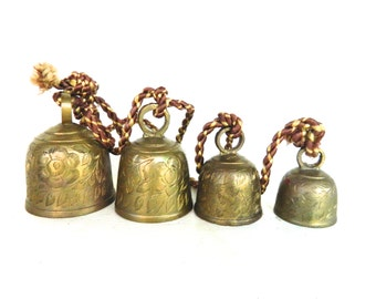 Vintage Brass Bells Etched