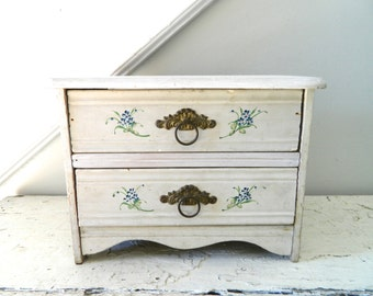 Vintage Wood Chest Drawers White/Cream Shabby Chic