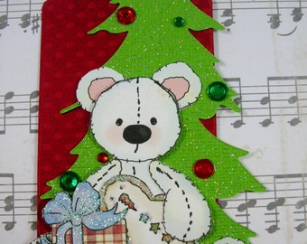 Christmas Bear TAG-Christmas Tag, Scrapbook Embellishment, Paper Piecing, Scrapbook, Card topper