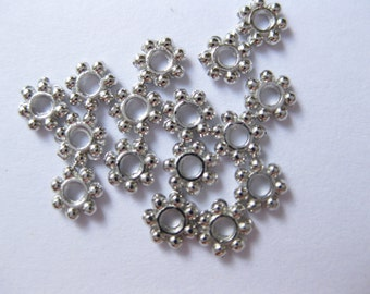 Daisy Silver spacer beads 4.5mm in diameter Jewelry Findings