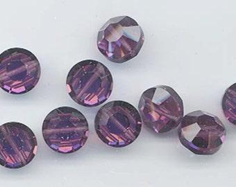 12 rare vintage Swarovski crystal beads -- Art. 5100 - 10 mm -amethyst AB