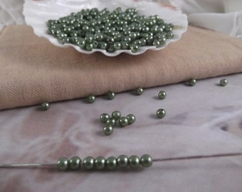 4mm Olivine Faux Loose Pearls ~ 250+ pieces