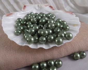 8mm Olivine Faux Loose Pearls ~ 100 pieces