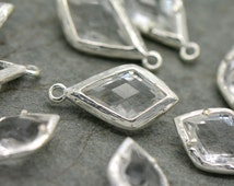 Wholesale Lot - Diamond Jewel Charms CRYSTAL Faceted Glass Sterling Silver Plated Setting Drop Gem Jewels 20mm Bezel Stone (AX070)