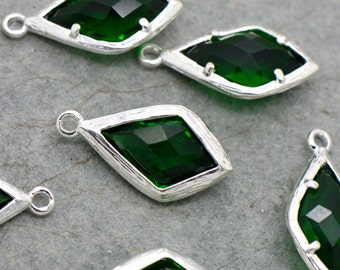 Wholesale Lot - Diamond Jewel Charms EMERALD  Faceted Glass Sterling Silver Plated Setting Drop Gem Jewels 20mm Bezel Stone (AX069)