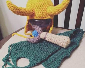 Loki Inspired Crochet Baby Photo Prop, Infant, Handmade, Thor