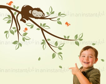 Monkey on a Branch Wall Decal - with Birds | Jungle Nursery, Kid's or Children's Room Decor by In An Instant Art | Easy Application 053