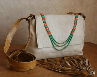 Flower necklace fringe messenger bag