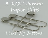 12 Silver Jumbo / Giant 3 1/2 Inch Bookmarks/Paper Clips/Paperclips w/ Glue Pads Large