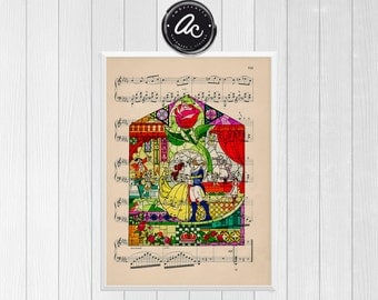 Beauty and the Beast Fairy Tale Glass Pane Print on an Unframed Upcycled Antique Bookpage