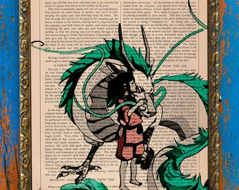 In Love Chihiro and Haku Ghibli Tribute Print on an Unframed Upcycled Bookpage