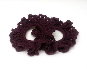 Set of 2 Cotton Crochet Hair Scrunchies, Crochet Hair Accessories, Crochet Hairbands, Crochet Hair Ties. FREE UK Delivery