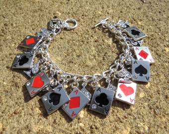 IN THE CARDS Playing Cards, Poker, Cribbage tribute Charm Bracelet
