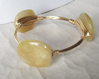 "Yellow Jade Bangle Bracelet  ""Bourbon and Bowties"" Inspired"