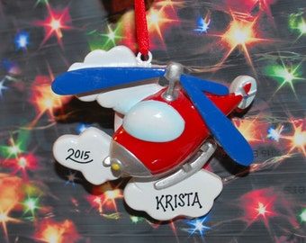 Personalized Helicopter Christmas Ornament