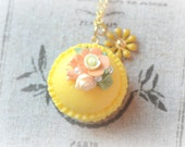 Macaron jewelry, french macaroon necklace yellow color, handmade fake pastry jewelry, orange flower, lolita whimsical jewelry, gift under 20